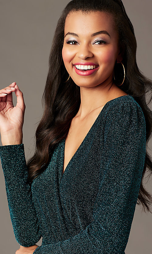 Image of faux-wrap short long-sleeve holiday party dress. Style: BLU-BD91113 Detail Image 2