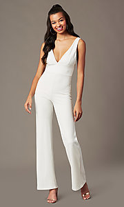 Image of deep-v-neck ivory jumpsuit for holiday parties. Style: BLU-BR90349 Front Image
