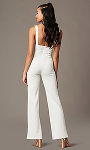 Image of deep-v-neck ivory jumpsuit for holiday parties. Style: BLU-BR90349 Back Image