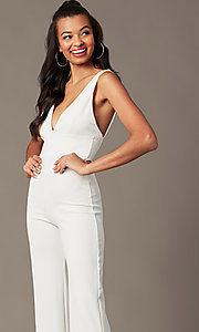 Image of deep-v-neck ivory jumpsuit for holiday parties. Style: BLU-BR90349 Detail Image 2
