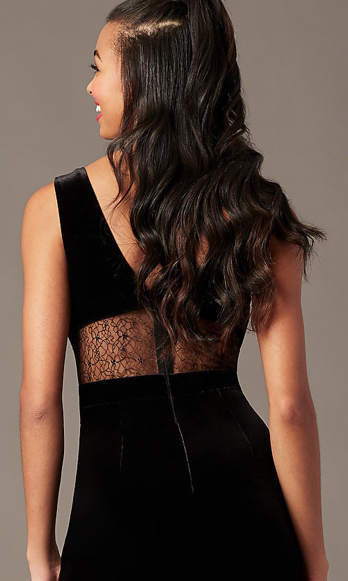 Image of black velvet holiday party jumpsuit with lace back. Style: BLU-IBR96538 Detail Image 2