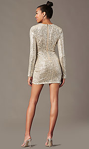 Image of long-sleeve sequin short holiday party dress. Style: JTM-JMD11057 Back Image