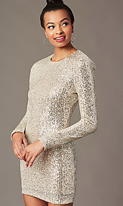 Image of long-sleeve sequin short holiday party dress. Style: JTM-JMD11057 Detail Image 1