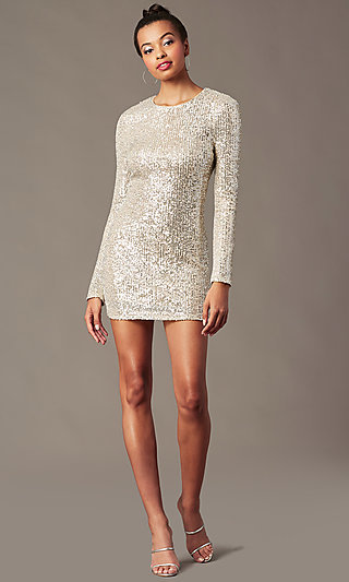 Long-Sleeve Sequin Short Holiday Party Dress