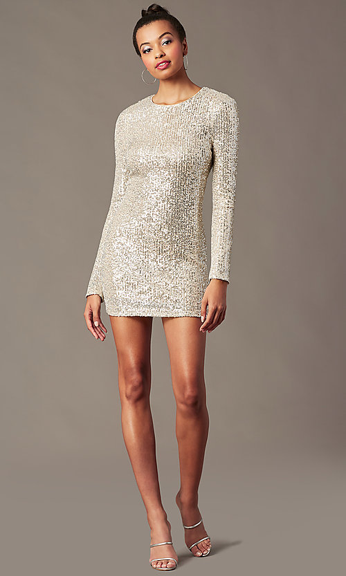 Image of long-sleeve sequin short holiday party dress. Style: JTM-JMD11057 Front Image