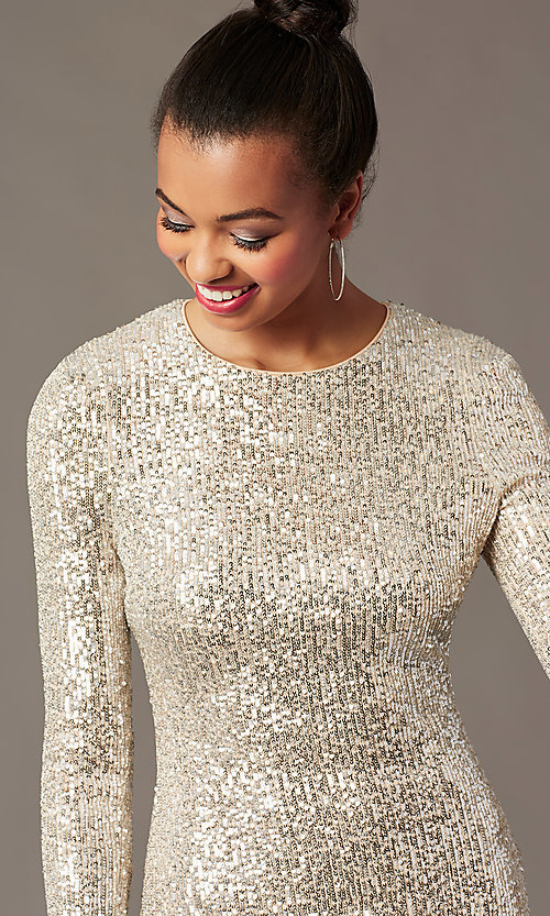Image of long-sleeve sequin short holiday party dress. Style: JTM-JMD11057 Detail Image 2