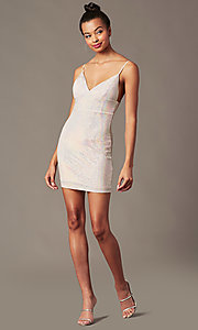 Image of silver-sequin light pink short holiday party dress. Style: JTM-JD10399A Front Image