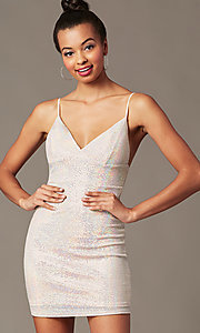 Image of silver-sequin light pink short holiday party dress. Style: JTM-JD10399A Detail Image 1