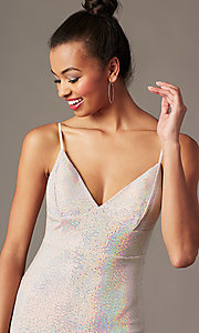 Image of silver-sequin light pink short holiday party dress. Style: JTM-JD10399A Detail Image 2