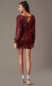 Image of long-sleeve short wine sequin holiday party dress. Style: JTM-JD11116 Detail Image 1