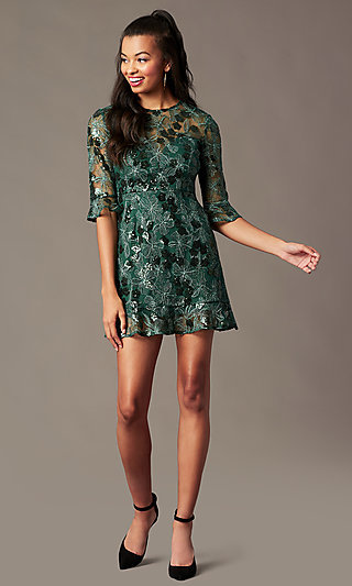 Emerald Green Short Holiday Sparkly Party Dress