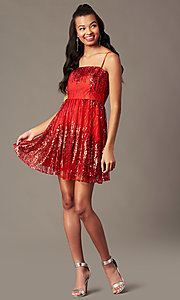 Image of red sequin short holiday party dress. Style: SOI-S18858 Front Image