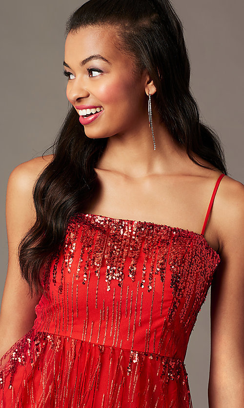 Image of red sequin short holiday party dress. Style: SOI-S18858 Detail Image 2