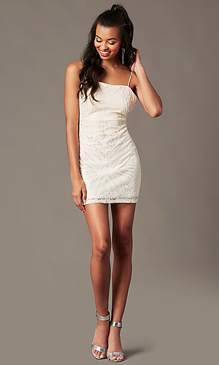 Sequin Short Holiday Party Dress in Ivory White