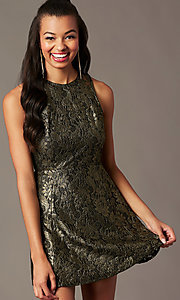 Image of open-back metallic-lace short holiday party dress. Style: IF-1018149D Back Image