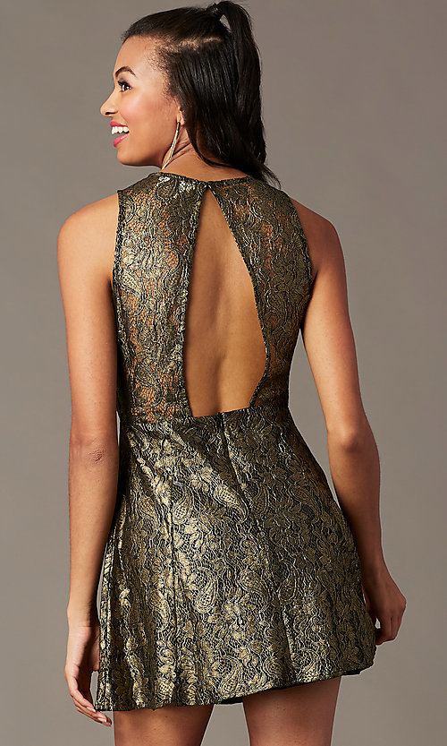 Image of open-back metallic-lace short holiday party dress. Style: IF-1018149D Front Image