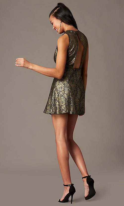 Image of open-back metallic-lace short holiday party dress. Style: IF-1018149D Detail Image 1
