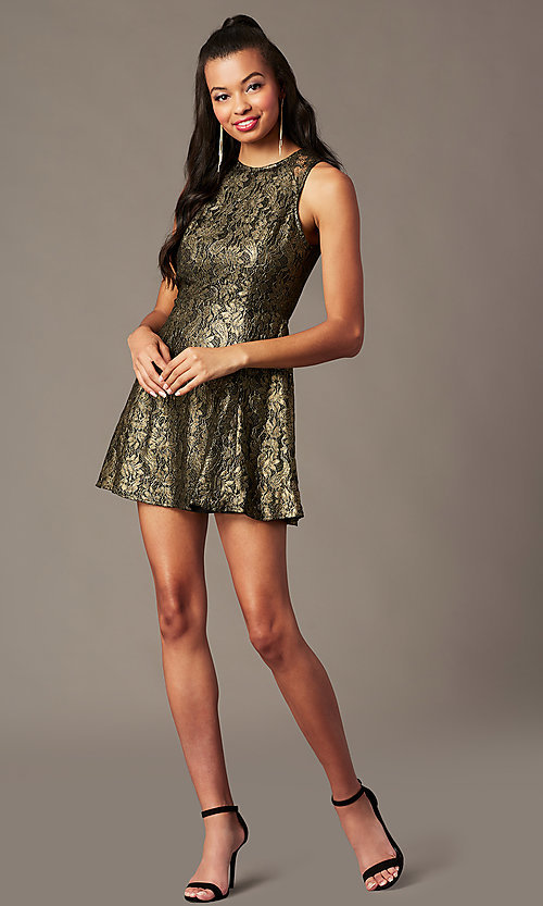 Image of open-back metallic-lace short holiday party dress. Style: IF-1018149D Detail Image 2