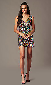 Image of v-neck short rainbow sequin holiday party dress. Style: IF-BD1441 Front Image
