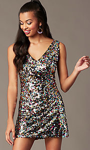 Image of v-neck short rainbow sequin holiday party dress. Style: IF-BD1441 Detail Image 1