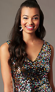 Image of v-neck short rainbow sequin holiday party dress. Style: IF-BD1441 Detail Image 2