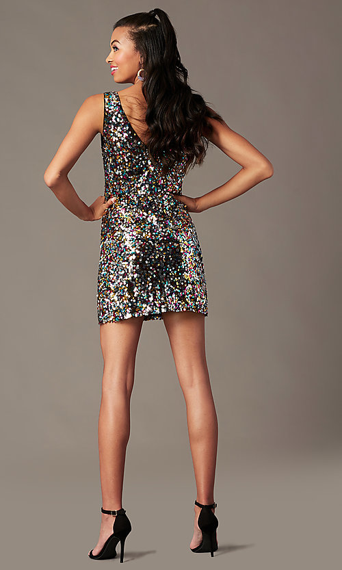 Image of v-neck short rainbow sequin holiday party dress. Style: IF-BD1441 Back Image