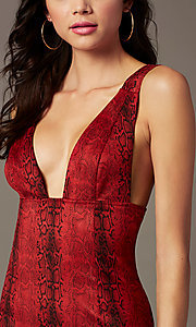 Image of suede snakeskin-print short red holiday party dress. Style: BLU-IBD96575 Detail Image 2