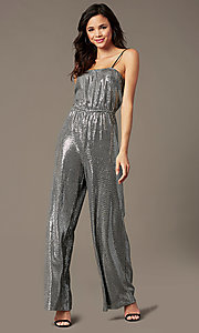 Image of holiday party sequin-knit jumpsuit in silver. Style: RO-R69893 Front Image