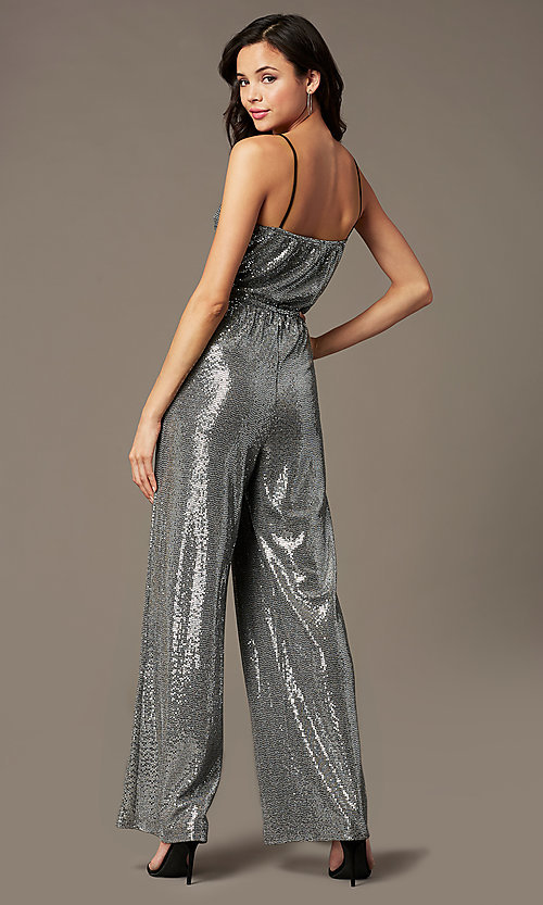 Image of holiday party sequin-knit jumpsuit in silver. Style: RO-R69893 Back Image