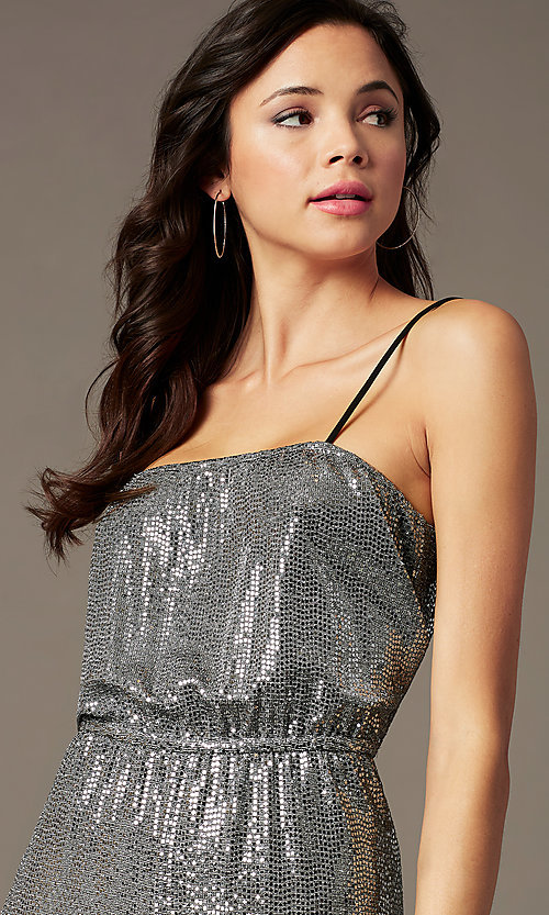 Image of holiday party sequin-knit jumpsuit in silver. Style: RO-R69893 Detail Image 2
