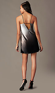 Image of black ombre velvet holiday party short shift dress. Style: RO-R67266 Detail Image 2