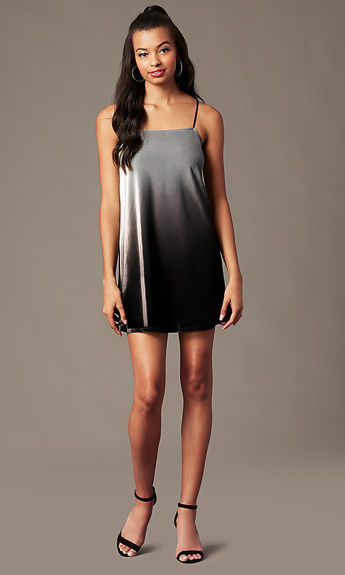 Image of black ombre velvet holiday party short shift dress. Style: RO-R67266 Detail Image 1