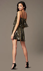 Image of short sparkly holiday party dress with popover. Style: RO-R69903 Back Image