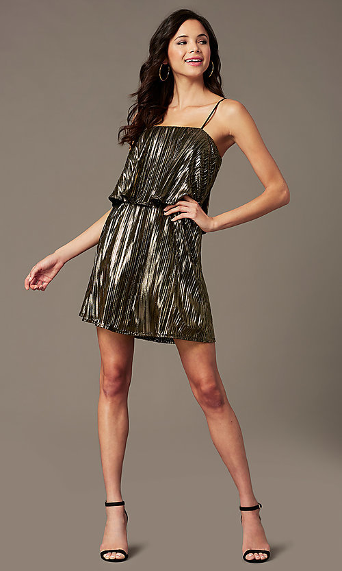 Image of short sparkly holiday party dress with popover. Style: RO-R69903 Front Image