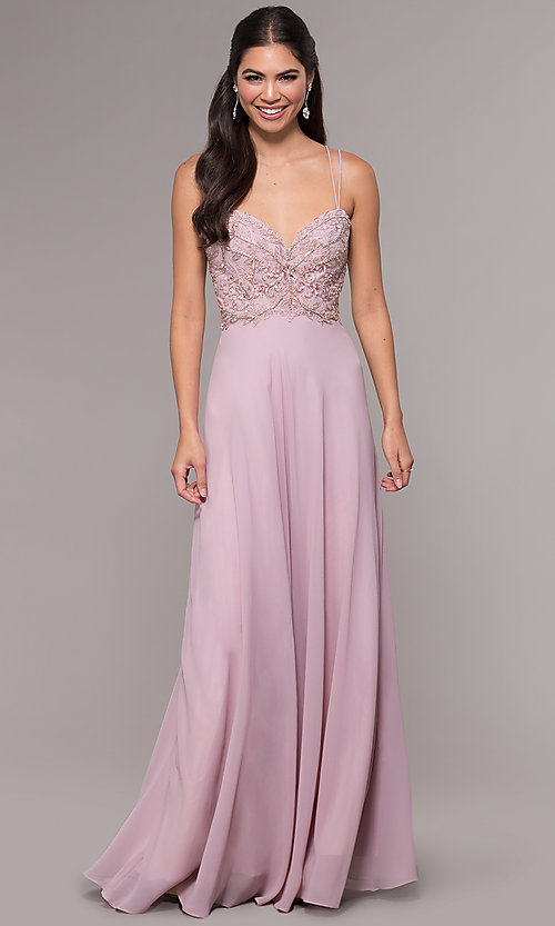 Image of long sweetheart chiffon formal prom dress. Style: SOI-W17850-v Front Image