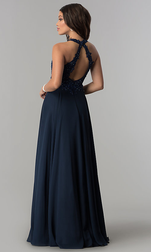 Image of mocha high-neck prom dress with cut-out open back. Style: DQ-2017-v Back Image
