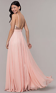 Image of long open-back sleeveless prom dress in rose gold. Style: DQ-2680-v Back Image