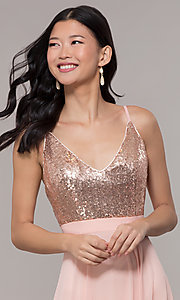 Image of long open-back sleeveless prom dress in rose gold. Style: DQ-2680-v Detail Image 1