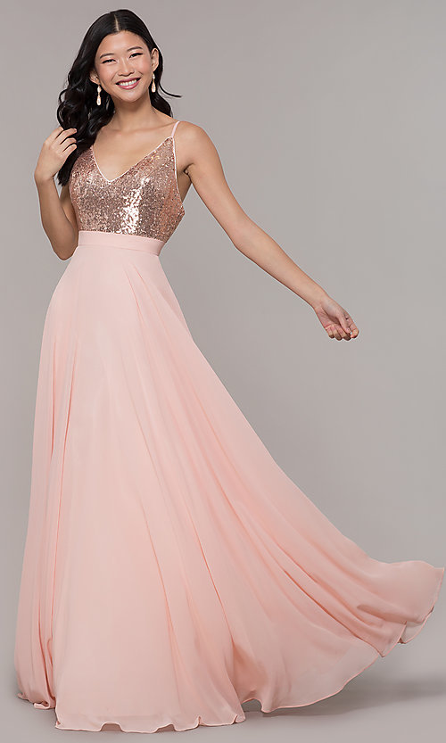 Image of long open-back sleeveless prom dress in rose gold. Style: DQ-2680-v Front Image
