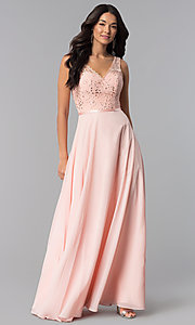 Image of lace-bodice long formal prom dress in mocha. Style: DQ-2267-v Detail Image 1