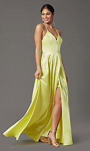 Image of long yellow satin formal prom dress with corset. Style: CT-2622HB5A Detail Image 2