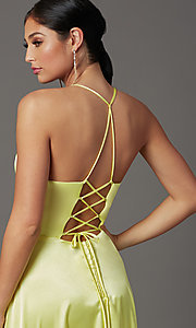 Image of long yellow satin formal prom dress with corset. Style: CT-2622HB5A Detail Image 1