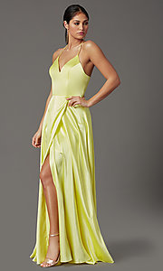 Image of long yellow satin formal prom dress with corset. Style: CT-2622HB5A Front Image