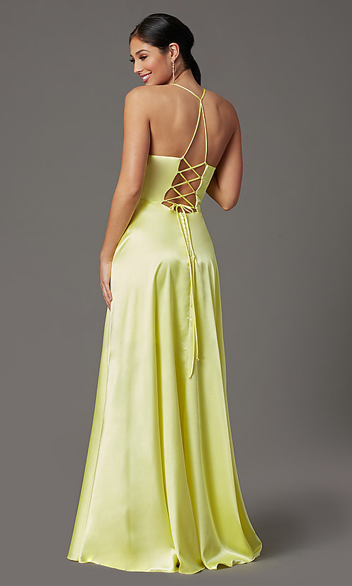 Image of long yellow satin formal prom dress with corset. Style: CT-2622HB5A Back Image