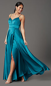 Image of long satin teal formal prom dress with pockets. Style: CT-5752EU8A Front Image