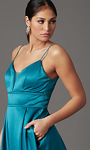 Image of long satin teal formal prom dress with pockets. Style: CT-5752EU8A Detail Image 1