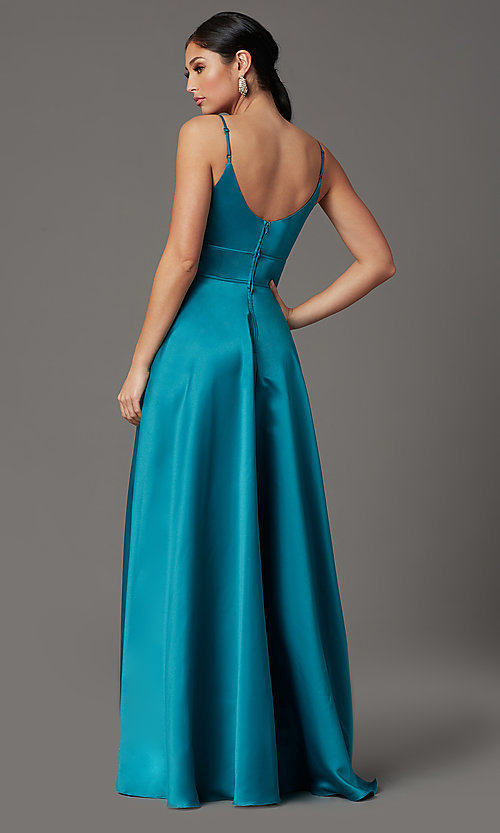 Image of long satin teal formal prom dress with pockets. Style: CT-5752EU8A Back Image