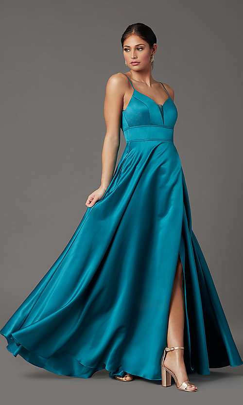 Image of long satin teal formal prom dress with pockets. Style: CT-5752EU8A Detail Image 2