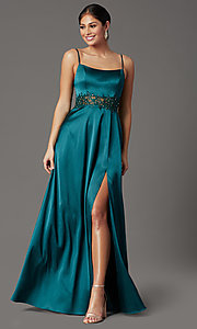 Image of beaded-waist hunter green long formal prom dress. Style: CT-2622GK8B Detail Image 2