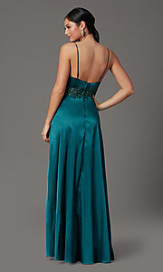 Image of beaded-waist hunter green long formal prom dress. Style: CT-2622GK8B Back Image